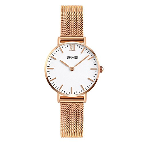 Women's Quartz Watches Ultra-thin Gorgeous Simple Petite Wrist Watches Small Dial Mesh Steel Bracelet (Rose (Gold Gold Plated Wrist Watch)