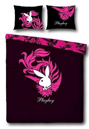 Biber Playboy Wende Bettwäsche Firebird Schwarz Pink 135x200 Cm
