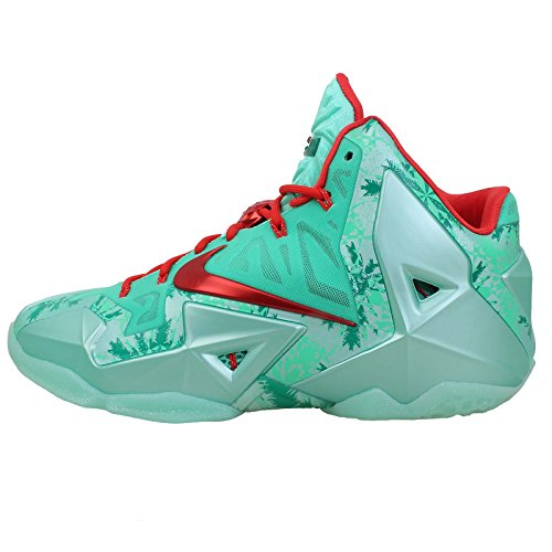 Nike Men's Lebron XI, Christmas-GREEN GLOW/LIGHT CRIMSON-ARC