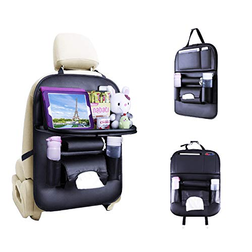 JUSTTOP Leather Car Backseat Organizer, Foldable Table with Touch Screen Tablet Holder + 7 Storage Bags, Multi…