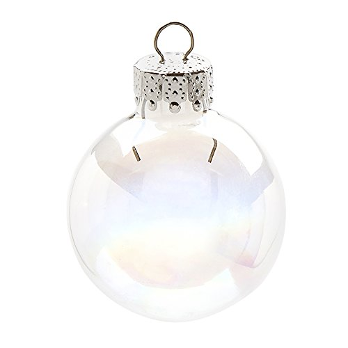 Darice 2610-60 20-Piece Small Glass Ball Shaped Ornament, Iridescent Glass, 35mm