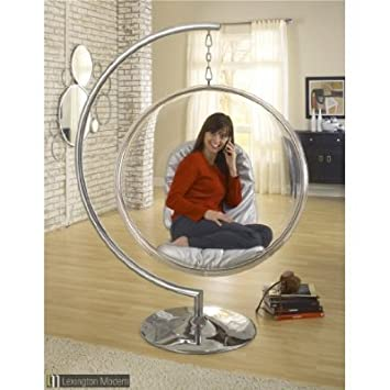 Eero Aarnio Style Bubble Chair With Silver Seat Cushion