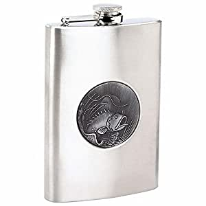 Maxam® 8oz Stainless Steel Flask with Embossed Fishing Emblem