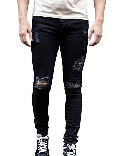 6b74ad67b3e7 XARAZA Men s Ripped Distressed Full Length Skinny Jeans Denim Pants with  Holes (Black
