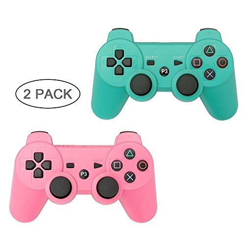 PS3 Controller 2 Pack Wireless Bluetooth 6-Axis Gamepad Controllers for PlayStation 3 Dualshock 3