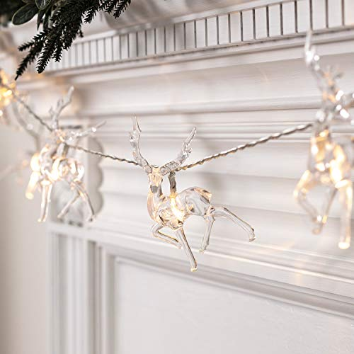 Lights4fun, Inc. 10 Warm White LED Reindeer Battery Operated Christmas String Lights (Led Reindeers)