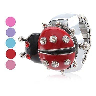 Unisex reloj de cuarzo analógico Ladybug anillo de la aleación del patrón (colores surtidos) , Rosado: Amazon.es: Relojes