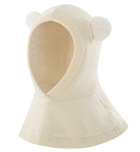 Connectyle Toddler Boys Girls Knit Sherpa Lined Winter Hat Hood Scarves S White