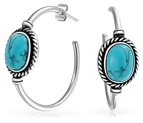 (Bali Style Oval Compressed Turquoise Braid Edge Twisted Rope Hoop Stud Earrings For Women Stainless Steel 1.25 Inch Dia)