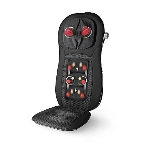 Medisana MCN Pro Shiatsu Pad per Massaggio, Sedile Massaggiante con Vibrazione, Spegnimento Automatico, Massaggio Cervicale Regolabile, 3 Intensità, Funzione di Riscaldamento per Schiena e Collo