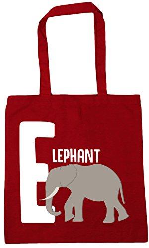 E HippoWarehouse alphabet for Shopping Beach Bag Red 10 animal Gym elephant Tote x38cm Classic litres 42cm RRdqxwr