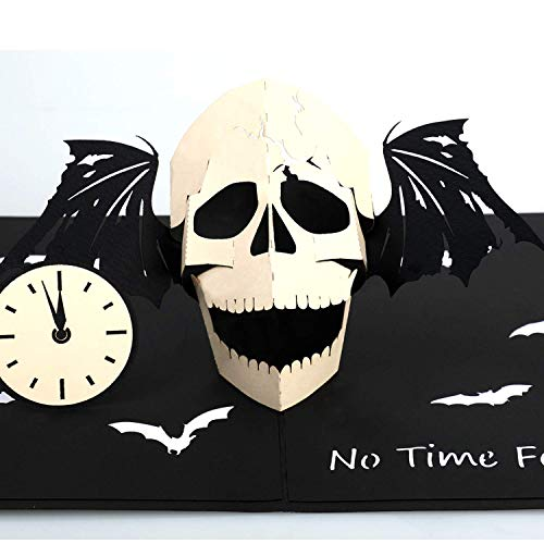 QUECIA ZONE Halloween Skull Pop Up Card - Skull Bat Clock Art for All Occasions - Spooky Creepy 3D Laser Cut Bat - Blank Note - Halloween Event and The Day of the Dead Party