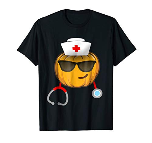 Nurse Halloween Emoji shirt smiling face with sunglasses -