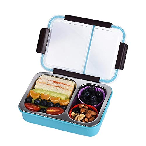 (Bento Box 2 Compartments Stainless Steel Lunch Box for Adults and Kids, Portion Control Lunch Containers Leakproof, BPA Free - Blue)