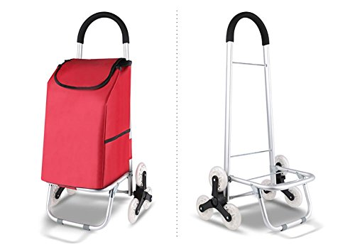 Cesta Carro Dolly 6 ruedas plegable Compras Subir escaleras de la compra de comestibles Carro con rodamientos de rueda para subir y bajar escaleras ...