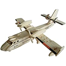 Kaden G-P 3D Jigsaw Woodcraft DIY Assembly Construction Model Plane aircraft airplane Puzzle Kit Wooden Handcraft Educational Products Wooden Art jigsaw puzzle toys for children diy handmade wooden(271Bomberplane)
