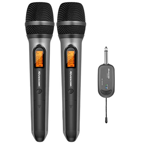 Wireless Microphone System, Alvoxcon Dual UHF Dynamic Handheld mic for iPhone, Computer, Karaoke, Conference, DJ, Vocal Recording, Singing, Church, On Stage Performance, Party Events (1/4 inch Plug) ()
