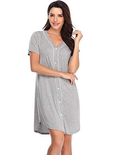 Lusofie Nightgowns for Women Sexy Boyfriend Sleep Shirts Short Sleeve V-Neck Nightshirts Button Down Sleepwear (75 Grey, L)