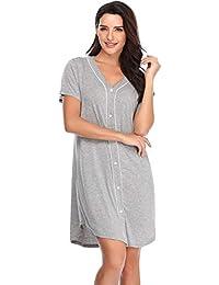383241689 Nightgown Women s Long Sleeve Nightshirt Boyfriend Sleep Shirt Button-up  Lapel Collar Sleepwear