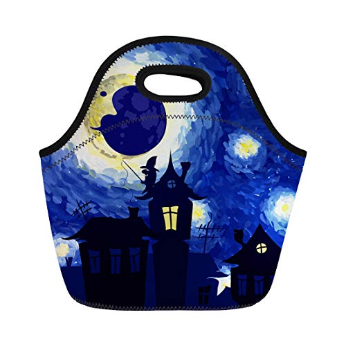 Semtomn Neoprene Lunch Tote Bag Watercolor Starry Night in the of Van Gogh Halloween Reusable Cooler Bags Insulated Thermal Picnic Handbag for Travel,School,Outdoors,Work ()