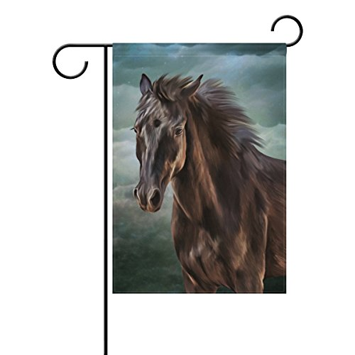 Top Carpenter Horse Portrait Double-Sided Printed Garden House Sports Flag - 12x18in - 100% Premium Polyester Decorative Flags for Courtyard Garden Flowerpot (Top Portrait)