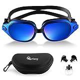 Merisny Swim Goggles, Anti-Fog Swimming Goggles No Leaking UV Protection Lenses Professional Swim Goggles with Free Case for Adult Men Women(Blue)