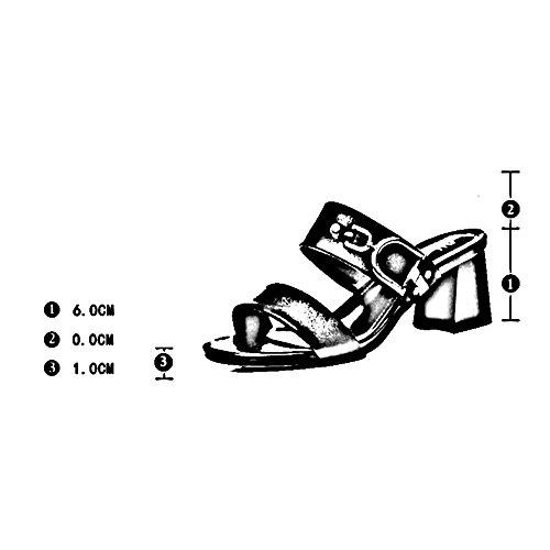 De 6 Exterior Del Negro Tamaño Zapato Femenino Talón Fashion uk6 Colores Altura color Eu40 Negro Leisure 5 Moda Cm 2 Verano Grueso 250 zapatos Zapatillas cn40 Toe Lixiong Dew wPqO65Bv
