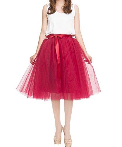 Women's Summer Fairy Knee Length Tulle Skirt Pleated Wedding Bridesmaid Sister Tutu Costume Red Wine]()