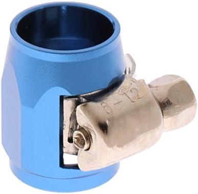 車 An4燃料 油水ホース パイプ フィニッシャークランプ クリップ アルミ製 3色 - 青