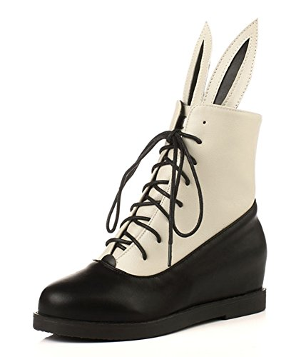 Aisun Womens Lovely Rabbit Color Block Height Ankle Boots Beige