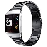 Band Compatible For Fitbit Ionic, PEYOU [Stainless Steel Strap] [Polished Classic Metal Buckle] Watchband Compatible For Fitbit Ionic Smartwatch 2017 Release, Come with A Tool to Adjust The Bracelet Easily