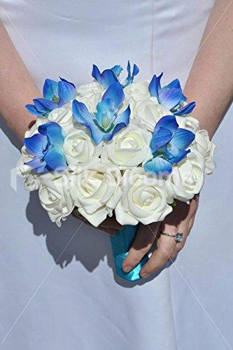 Amazon.com: Ivory Foam Rose & Galaxy Blue Orchid Bridal Wedding ...