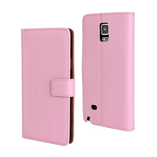 y Note 4 Case, Genuine Leather Folio Flip Wallet Case Cover Book Design with Kickstand Feature & Magnetic Closure & Card Slots/Cash Compartment-Pink ()