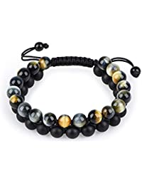 Tiger Eye Stone Bracelet Men Women - Natural Energy Stone...