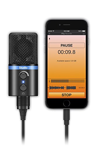 IK Multimedia iRig Mic Studio digital studio microphone for iPhone, iPad, Android and Mac/PC (black)