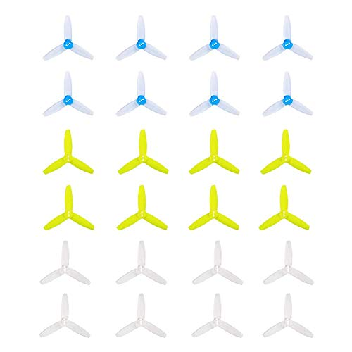 GEMFAN 3035 Propeller 3 inch 3-Blades(3x3.5x3) Durable PC Material Triblade Props Compatible with 1104 1105 1106 Brushless Motor for FPV Racing Drone Quadcopter Frame (24pcs,Clear&Blue&Yellow)
