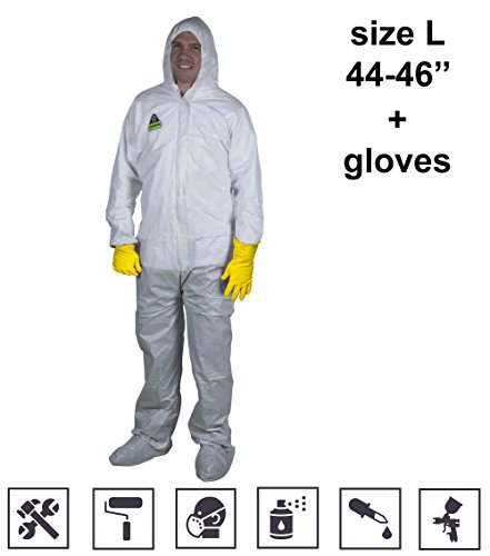 Paint Coveralls with Front Zipper Hood Disposable Overall Unionalls White Coveralls Insulated Anti Spray Painting Dust Mold Protection size L if your wear 44-46