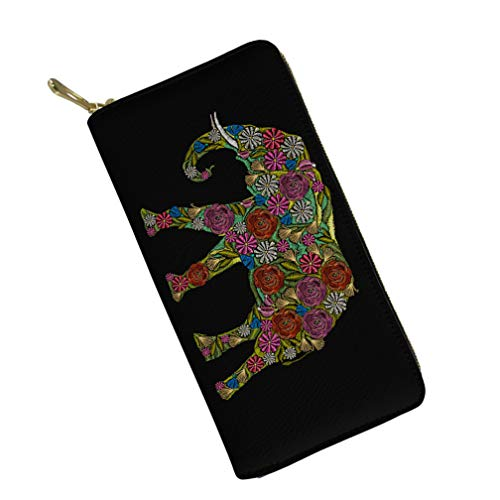 Girl Zipper Wallets Clutch Coin Phone for Women Ethnic Colorful Elephant Ladies Lond Purse for Shopping