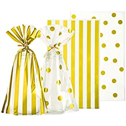AWELL Clear Cello Bags 6x10 inch for Treat Candy Cookie Party Favor Bags, Gold Stripe and Gold Dot,Pack of 100