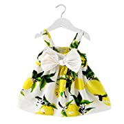 Witspace Baby Girl Clothes Infant Kids Lemon Print Outfit Toddlers Princess Dress (0-6 Months, Yellow)