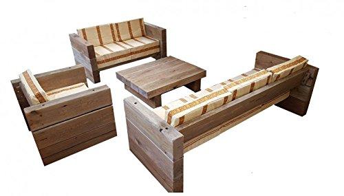 Luxus Garten Möbel Set Eiche Massiv - schwere Ausführung - 3er, 2er, 1x + Tisch - Massivholz rustikal - Lounge Set, Farbe:Kissenbezug Creme / Streifen Orange