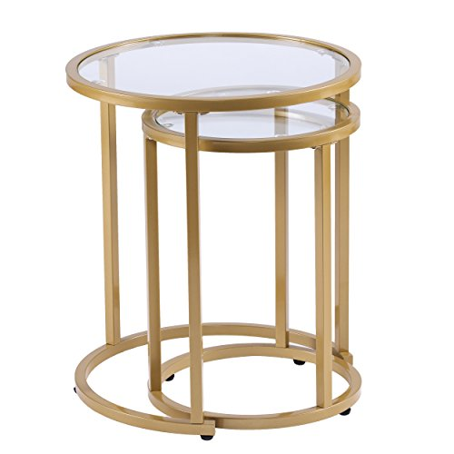 Furniture HotSpot Gold Metal Nesting End Tables – 2 Pcs Set – Round Space Saving Design