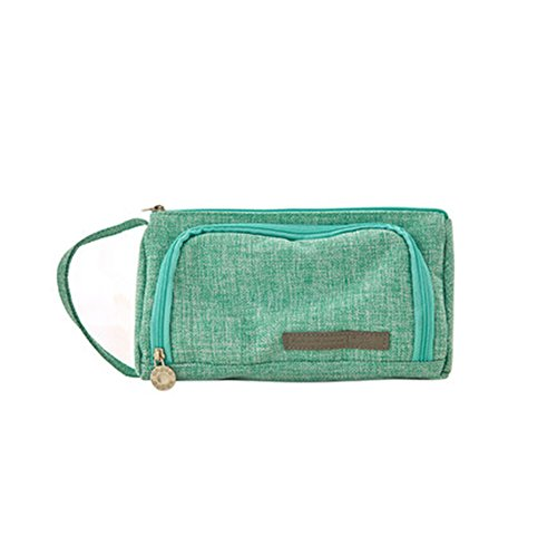 Frjjthchy Large Capacity Cotton Linen Pencil Pen Case Portable Stationery Pouch Pen Organizer Holders with Zipper Closure (Green)