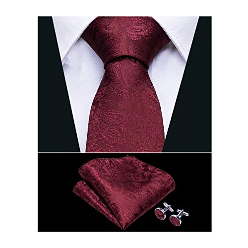 Barry.Wang Silk Burgundy Tie Pocket Square Cufflinks Set for Men Necktie Set
