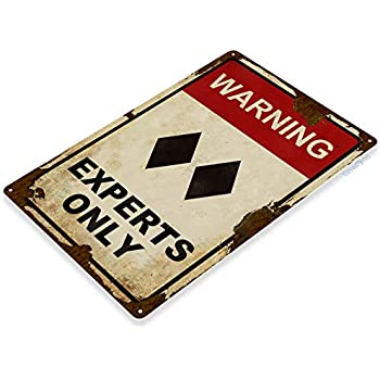 Tinworld Tin Sign Caution Experts Only Rustic Black Double Diamond Ski Metal Sign Decor Lodge Lift Skiing Resort Slopes A333