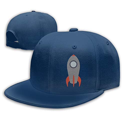 (FOOOKL Retro Rocket Ship Flat Visor Baseball Cap, Fashion Snapback Hat Navy)