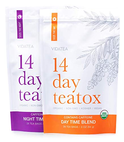 14 Day and Night Detox Tea - Teatox (28 Tea Bags) - Organic All Natural Antioxidant Weight Loss Tea, Herbal Body Detox Cleanse, with Refreshing Taste - Vida Tea