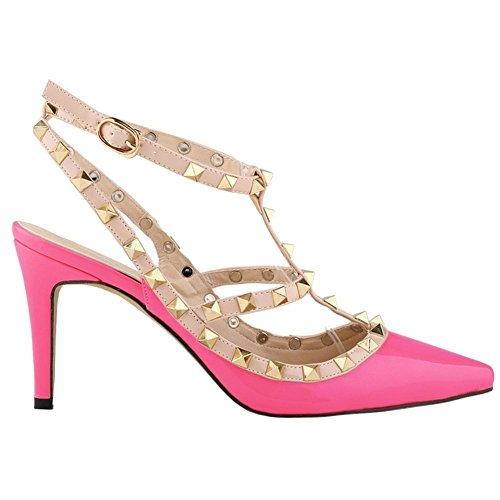 Shoes ArcEnCiel Toe High Rose Buckle Women's Heel Sandals Studded Pointed 66xUnr
