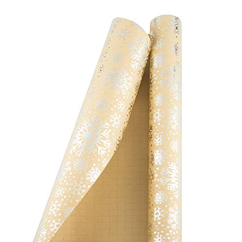 JAM PAPER Gift Wrap - Christmas Wrapping Paper - 15 Sq Ft - Silver Snowflake Kraft Paper - Roll Sold Individually
