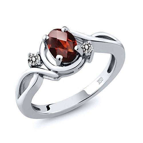 0.87 Ct Oval Checkerboard Red Garnet White Diamond 18K White Gold Ring by Gem Stone King